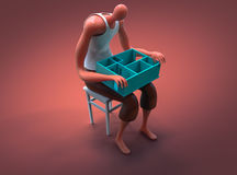 Cartoon man holding miniature of his new apartment on lap. 3D illustration Stock Photos