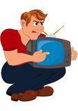 Cartoon man holding old TV Stock Images