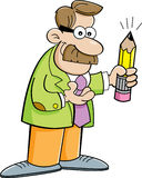 Cartoon man holding a pencil Stock Images