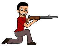 Cartoon man holding rifle Royalty Free Stock Image