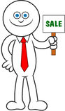 Cartoon Man Holding Sale Signboard Royalty Free Stock Photography