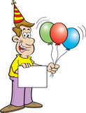 Cartoon man holding a sign and balloons Royalty Free Stock Image
