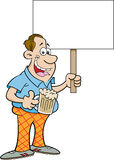 Cartoon man holding a sign Stock Image