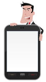 Cartoon Man Holding Smartphone Sign Stock Photos