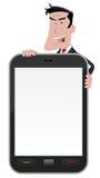 Cartoon Man Holding Smartphone Sign Stock Photos