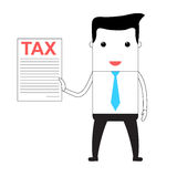 Cartoon man holding a tax form Stock Photography