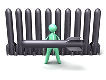 Cartoon man holding Torpedo Stock Images