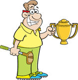 Cartoon man holding a trophy. Stock Image