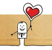 Cartoon Man Holding Up A Big Red Heart Royalty Free Stock Images