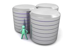Cartoon man with hughe Data Canister Archive. An illustration of a cartoon man and three metal data canister archives on a white  background Stock Image