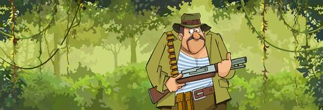 Cartoon man hunter with a gun walking through the forest Royalty Free Stock Image