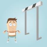 Cartoon man and hurdles Stock Image