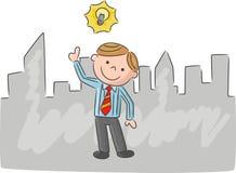 Cartoon man with idea light bulb over head Stock Photography