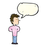 Cartoon man ignoring with speech bubble Stock Images