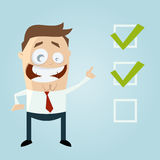 Cartoon man with important checklist Royalty Free Stock Image