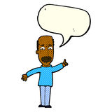 Cartoon man issuing stern warning with speech bubble Stock Photo