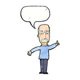 Cartoon man issuing stern warning with speech bubble Stock Photos