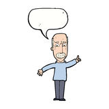 Cartoon man issuing stern warning with speech bubble Royalty Free Stock Images