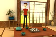 Cartoon man in japanese interior Royalty Free Stock Photos