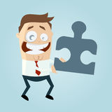 Cartoon man with jigsaw piece Royalty Free Stock Images