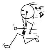 Cartoon of Man Jogging. Cartoon vector doodle stickman running with music player and earphones Royalty Free Stock Image