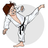 Cartoon man in a kimono with a black belt in kicking pose yoko geri Stock Image