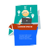 Cartoon man with laptop in flat design and modern text banner Royalty Free Stock Photo