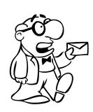 Cartoon man with letter. A cartoon drawing of a man holding a letter Royalty Free Stock Images