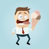 Cartoon man is licking ice cream. Funny cartoon man is licking ice cream Stock Photo
