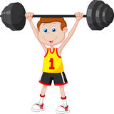 Cartoon man lifting barbell Stock Images