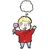 Cartoon man with lollipop Royalty Free Stock Photo