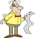 Cartoon man looking at a bill. Stock Photos