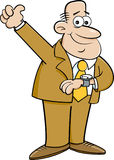 Cartoon man looking at his watch and giving thumbs up. Royalty Free Stock Images