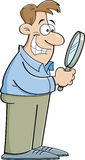 Cartoon man looking through a magnifying glass Stock Images