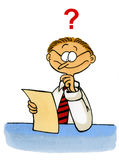 Cartoon of a man looking puzzled at a document. Funny cartoon of an office worker looking puzzled at a sheet of paper. This artwork was created manually with ink Stock Photography