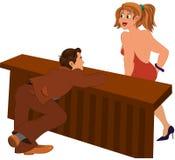 Cartoon man looking at walking girl Stock Image