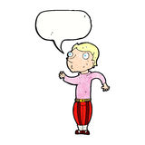 Cartoon man in loud clothes with speech bubble Stock Images