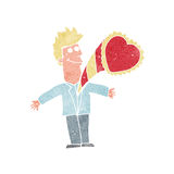 Cartoon man with love heart Stock Photography