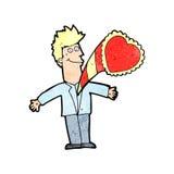 Cartoon man with love heart Royalty Free Stock Photography