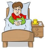 Cartoon man lying in bed with fever. Vector illustration of a cartoon man lying in bed with fever Royalty Free Stock Images
