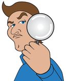 Cartoon Man with Magnifier. A cartoon man with a magnifying glass is taking a closer look stock illustration