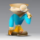 Cartoon man with magnifying glass. Royalty Free Stock Images
