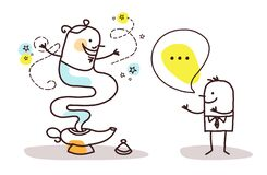 Free Cartoon Man Making A Wish With The Genie Of The Lamp Stock Images - 215076504