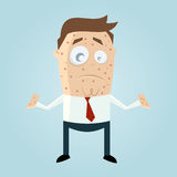 Cartoon man with measles. Funny illustration of a cartoon man with measles Royalty Free Stock Photography