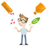 Cartoon man medicine alternative homeopathy treatment. Vector illustration of a cartoon character: Young man weighing up academic medicine and homeopathy Royalty Free Stock Photography