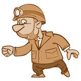 Cartoon man miner goes Royalty Free Stock Photo