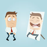 Cartoon man in mirror Royalty Free Stock Images