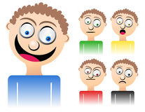 Cartoon Man Mixed Emotions. A cartoon male character is displaying mixed emotions from happiness, sadness, anger, curiosity and shock Stock Photo