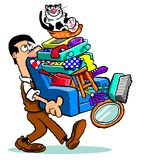Cartoon man moving home. Cartoon man carrying household goods on an armchair with a smiling cat sat on top Royalty Free Stock Photography