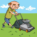Cartoon man mowing his lawn. Grass and blue sky behind Royalty Free Stock Photos